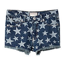 Buy Mango Kids Girls' Star Denim Shorts, Blue Online at johnlewis.com