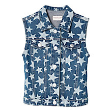 Buy Mango Kids Girls' Star Print Denim Vest, Blue Online at johnlewis.com