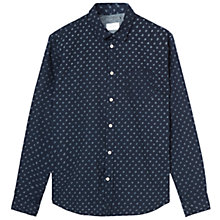 Buy Jigsaw Leaf Print Poplin Shirt, Indigo Online at johnlewis.com