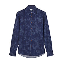 Buy Jigsaw Splash Print Slim Shirt, Indigo Online at johnlewis.com