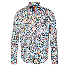 Buy BOSS Orange Eslim Digital Floral Print Shirt, Blue Online at johnlewis.com