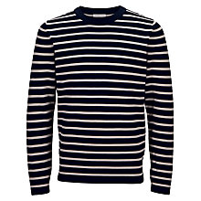 Buy Selected Homme Mel Stripe Crew Neck Jumper, Navy/White Online at johnlewis.com