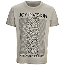 Buy Selected Homme Joy Division Unknown Pleasures Graphic Print T-Shirt, Grey Online at johnlewis.com