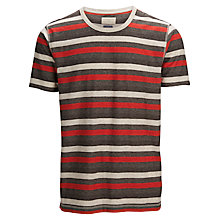 Buy Selected Homme Stripe Crew Neck T-Shirt, Red/Multi Online at johnlewis.com