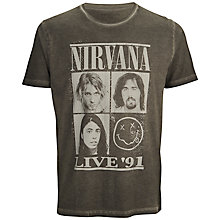 Buy Selected Homme Nirvana Grapic Print T-Shirt, Pirate Black Online at johnlewis.com