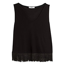 Buy Mango Fringed Hem Top, Black Online at johnlewis.com
