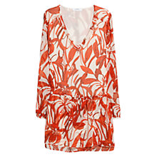 Buy Mango Floral Chiffon Dress, Bright Red Online at johnlewis.com