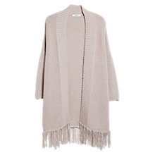 Buy Mango Fringed Hem Cardigan, Light Beige Online at johnlewis.com