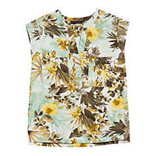 Buy Violeta by Mango Floral Print Blouse, Khaki Online at johnlewis.com