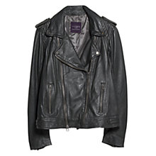 Buy Violeta by Mango Leather Biker Jacket, Charcoal Online at johnlewis.com