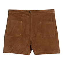Buy Mango High-waist Suede Shorts, Dark Brown Online at johnlewis.com