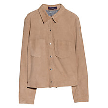 Buy Violeta by Mango Pocket Leather Jacket, Light Beige Online at johnlewis.com