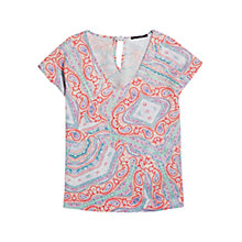 Buy Violeta by Mango Bow Print Blouse, Light Pastel Orange Online at johnlewis.com