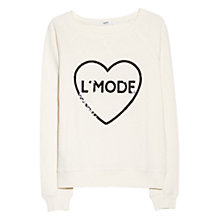 Buy Mango Sequined Message Sweatshirt, Light Beige Online at johnlewis.com