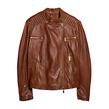 Buy Violeta by Mango Multi Pocket Leather Jacket, Medium Brown Online at johnlewis.com