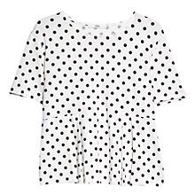 Buy Mango Pleated Polka Dot T-Shirt, Natural White Online at johnlewis.com