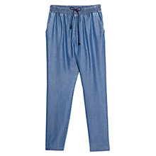 Buy Mango Baggy Soft Trousers, Open Blue Online at johnlewis.com