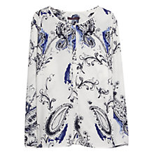 Buy Violeta by Mango Watercolour Blouse, Cotton White Online at johnlewis.com