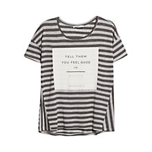 Buy Mango Striped Message T Shirt, Light Pastel Grey Online at johnlewis.com