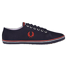 Buy Fred Perry Kingston Twill Canvas Plimsolls, Navy/England Red Online at johnlewis.com