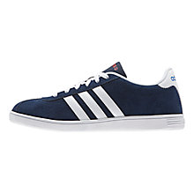Buy Adidas Vlneo Suede Court Trainers, Blue/White Online at johnlewis.com