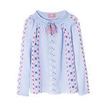 Buy Mango Kids Girls' Embroidered Tassle Blouse, Lilac Online at johnlewis.com