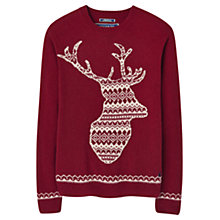 Buy Joules Stag Festive Jumper, Red Shoe Online at johnlewis.com
