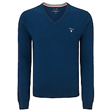 Buy Gant Wool Cotton V-Neck Jumper Online at johnlewis.com