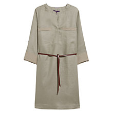 Buy Violeta by Mango Linen Belt Dress, Beige/Khaki Online at johnlewis.com