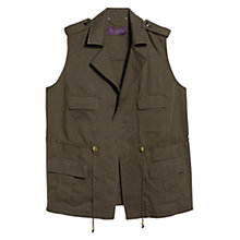 Buy Violeta by Mango Pocket Linen Blend Gilet, Khaki Online at johnlewis.com