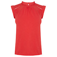 Buy Oasis Pintuck Trim Shell Top, Mid Red Online at johnlewis.com