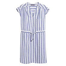 Buy Violeta by Mango Striped Linen Cotton Dress, Dark Lilac/White Online at johnlewis.com