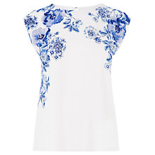 Buy Oasis Etch Botanical T-shirt, Multi Blue Online at johnlewis.com