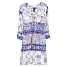 Buy Violeta by Mango Belt Printed Dress, Medium Blue/Cream Online at johnlewis.com