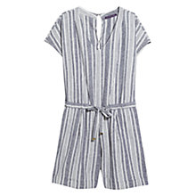 Buy Violeta by Mango Linen Blend Striped Jumpsuit, Navy Online at johnlewis.com