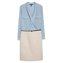 Buy Violeta by Mango Contrast Bodice Dress, Smoke Blue/Biscuit Online at johnlewis.com