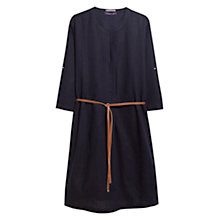 Buy Violeta by Mango Linen Blend Pleated Dress, Navy Online at johnlewis.com