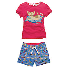 Buy Fat Face Girls' Cat Print Shortie Pyjama Set, Blue Online at johnlewis.com