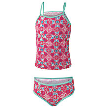 Buy Fat Face Children's Tile Print Tankini, Pink Online at johnlewis.com