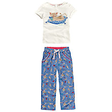 Buy Fat Face Cat Print Pyjama Set, Cloud Online at johnlewis.com