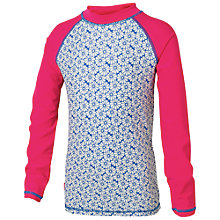 Buy Fat Face Girls' Daisy Print Rashie Top, Blue/Pink Online at johnlewis.com