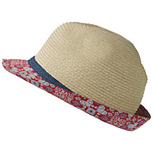 Buy Fat Face Children's Tile Print Trilby Hat, Natural Online at johnlewis.com