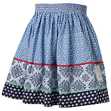 Buy Fat Face Children's Tile Print Skirt, Blue Online at johnlewis.com