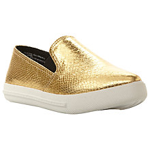 Buy Steve Madden Vicktori Flatform Slip On Trainers, Gold Reptile Online at johnlewis.com