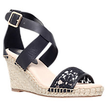 Buy KG by Kurt Geiger Marina Wedge Heeled Sandals, Black Leather/Fabric Online at johnlewis.com