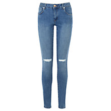 Buy Warehouse Denim Rip Skinny Jeans, Indigo Online at johnlewis.com