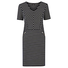 Buy Warehouse Textured Chevron Stripe Dress, Navy Online at johnlewis.com