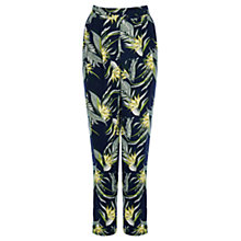 Buy Warehouse Jungle Palm Trousers, Blue Online at johnlewis.com
