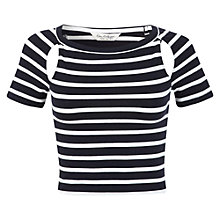 Buy Miss Selfridge Short Sleeve Cut Out Crop Top, Navy / White Online at johnlewis.com