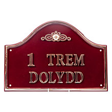 Buy The House Nameplate Company Personalised Solid Brass Bridge House Sign, Flower Motif Online at johnlewis.com